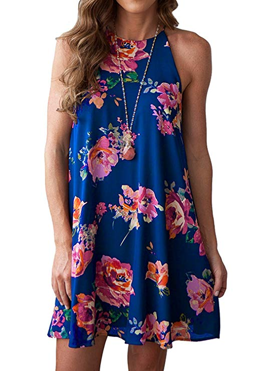 Women Summer Boho Floral Print Halter Neck Chiffon Sleeveless Short Dress