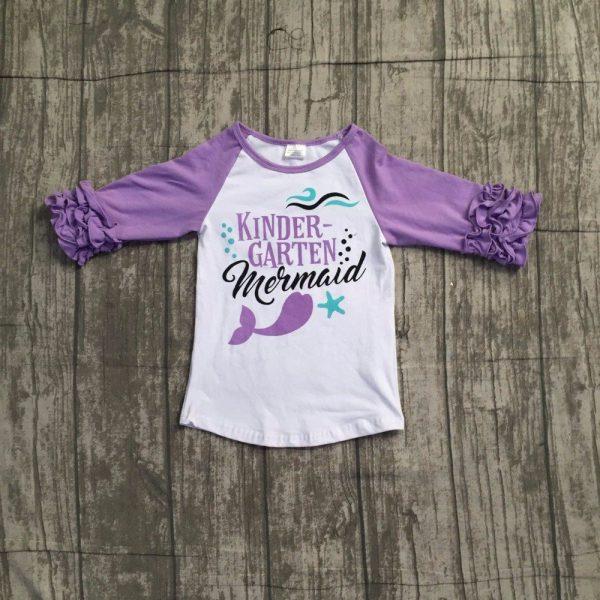 Kindergarten mermaid lavernder ruffle sleeve shirt outfit