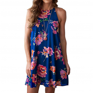 Women Summer Boho Floral Print Halter Neck Chiffon Sleeveless Short Dress