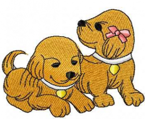 Two puppies machine embroidery design