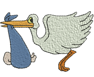 Stork Baby Delivery - Machine Embroidery Design