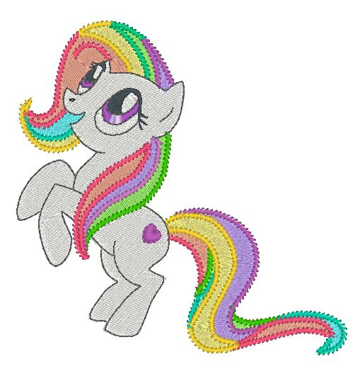 Cute pony embroidery design