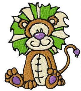 Cute small lion embroidery design