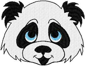 Panda happy face embroidery design