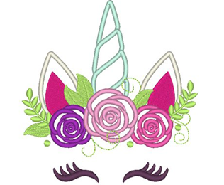 Pretty eyes Unicorn head with shabby chick roses crown applique machine embroidery designs | Rainbow unicorn face Instant Download