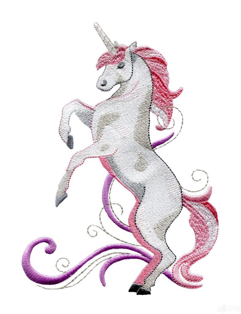Rearing Pick Unicorn Embroidey Design