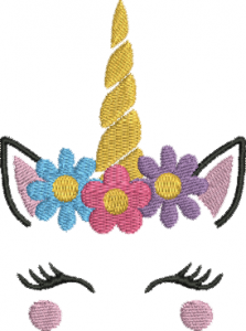 Unicorn Face Head II Flowers Machine Embroidery Design 4x4 and 5x7 Instant Download
