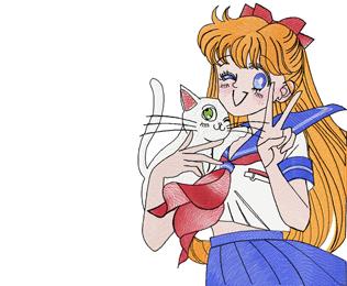 Sailor Moon anime embroidery design