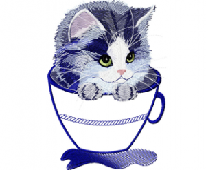 Kitten in a mug applique embroidery design