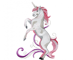 Rearing Pick Unicorn Embroidey Design