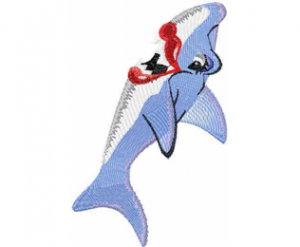 Happy shark embroidery design 2 Sizes