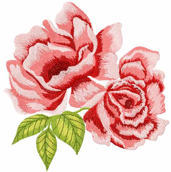 Two Red Roses Embroidery Design