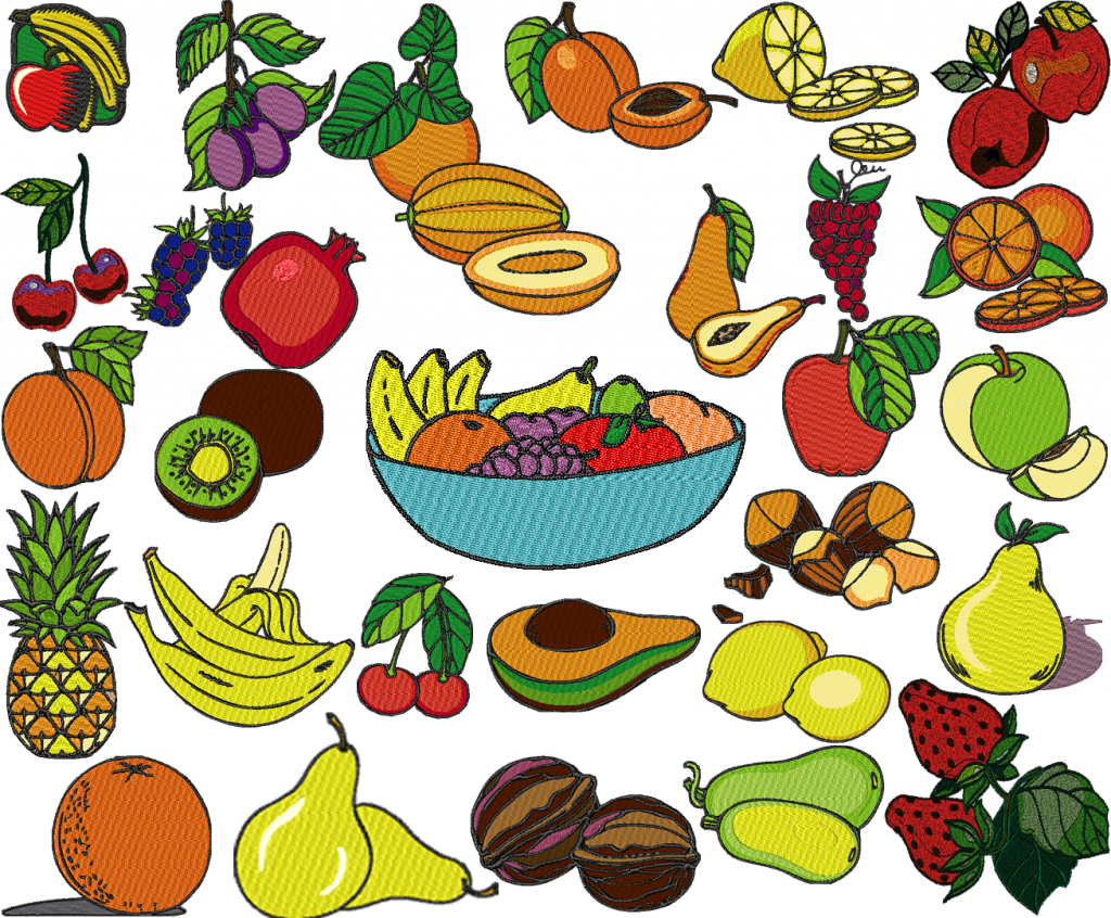 +40 Fruit Embroidery Designs Collection .sew .pes .jef … INSTANT DOWNLOAD