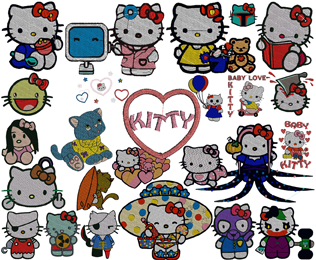 36 Kitty Machine Embroidery Designs Collection